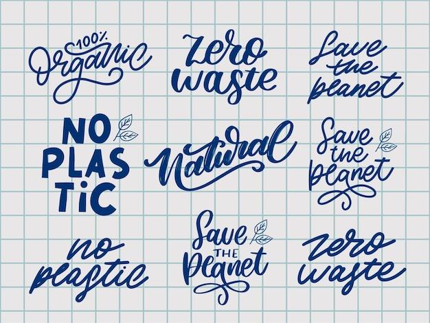 Impostare lettere naturali timbro illustrazione slogan calligrafia