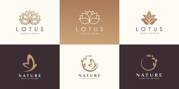 Set di design del logo naturale.