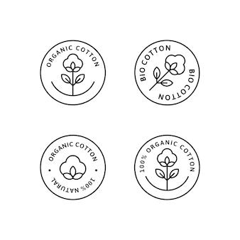 Set di etichette e distintivi per fodera in cotone organico naturale - icona rotonda vettoriale, adesivo, logo, timbro, etichetta fiore di cotone isolato su sfondo bianco - tessuto naturale con logo piante timbro tessuti organici.