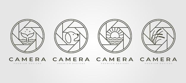 Set di logo di fotografia obiettivo della fotocamera della natura
