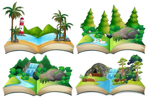 Set di paesaggio naturale sul libro aperto