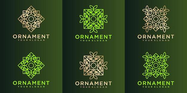 Insieme del logo dell'ornamento della natura
