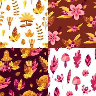 Insieme dei modelli senza cuciture della natura con fiori e foglie autunnali nei colori arancioni e rosa.