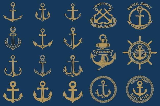 Set di emblemi nautici ed elementi in stile vintage. etichette di ancoraggi impostate su sfondo blu.