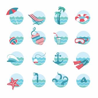 Set di temi di vacanza nautica o marina e spiaggia. icone rotonde con le onde