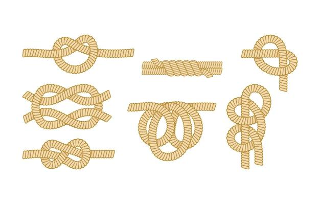 Set di corde nautiche con diversi tipi di nodi. filo o corda marina con piegatura e piegatura del foglio, nonna e otto