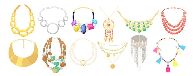 Set collana, gioielli di perline di metallo dorato e rocce isolate su sfondo bianco. bijoux da donna, boho bijouterie pietre preziose o semipreziose, gioielli. fumetto illustrazione vettoriale, icone