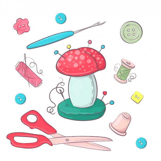 Set di accessori per cucire per aghi.