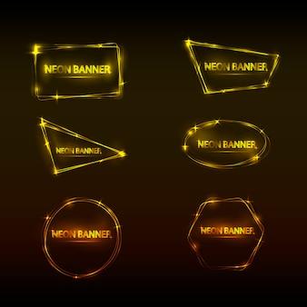 Set di banner al neon di colore giallo e marrone