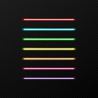 Set di colori al neon su sfondo trasparente