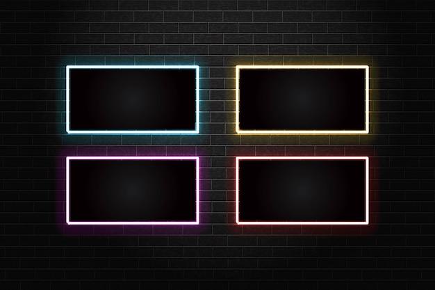Set di modello di cornice al neon sul muro