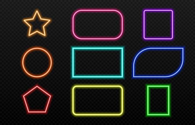 Set di cornici al neon di diversi colori