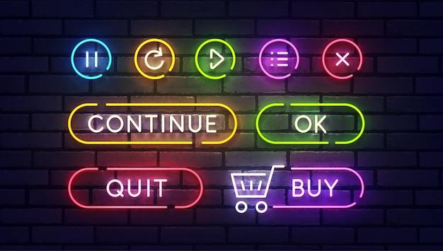 Set di pulsanti di gioco al neon.