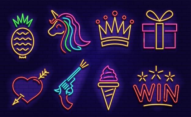 Set di icone al neon. immagini al neon per casinò, bar, caffè.