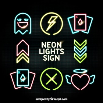 Set di elementi di luce al neon