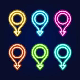 Set di insegna al neon del perno della mappa con la freccia. concetto di consegna, logistica e trasporto