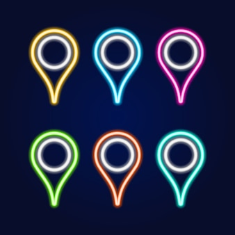 Set di insegna al neon del perno della mappa
