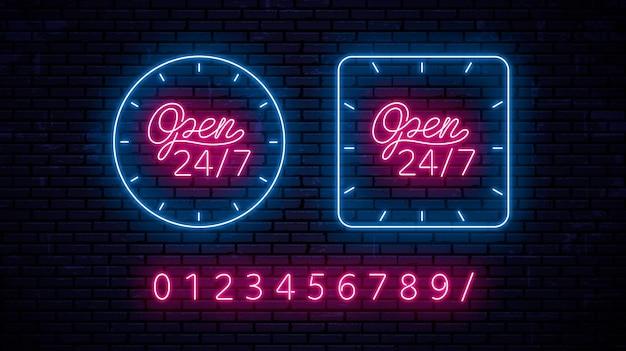 Set di insegne al neon: aperto 24 ore su 24, sette giorni su sette, 24 ore su 24, con la possibilità di modificare l'ora utilizzando i numeri.