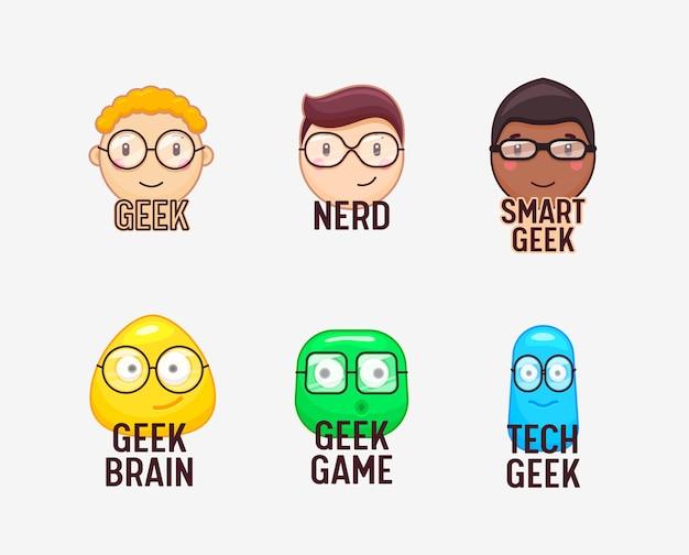 Set di facce buffe nerd e geeks isolato su bianco
