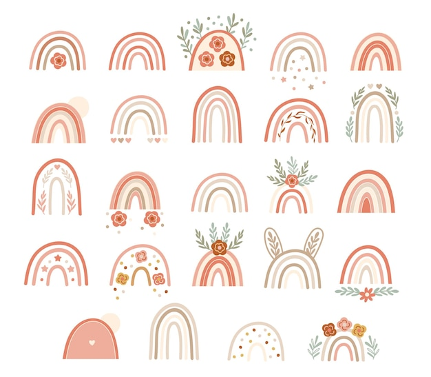 Set di arcobaleni rosa neutri con elementi floreali. illustrazione vettoriale.