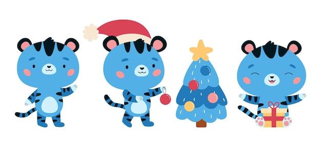 Insieme della tigre colorata blu del fumetto di simbolo del nuovo anno