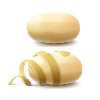 Insieme di nuove patate sbucciate intere crude gialle con la buccia attorcigliata vicino su isolato su bianco