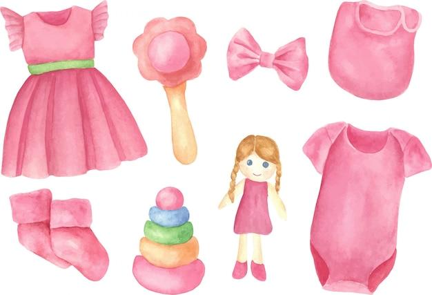Un insieme di elementi della ragazza appena nata, oggetto isolato su sfondo bianco. illustrazione disegnata a mano dell'acquerello dei vestiti e dei giocattoli del bambino.