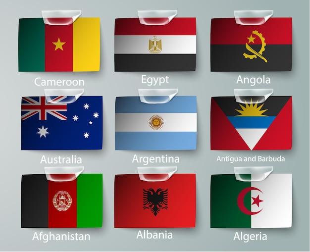 Set di raccolta di bandiere della nigeria isolato su bianco.