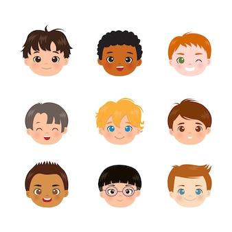 Set di nove diverse teste di ragazzi