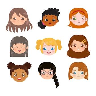 Set di nove diverse teste e facce di ragazze