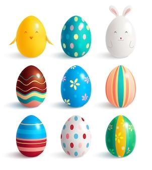 Set di nove uova di pasqua realistiche con linee decorative e vari modelli di colore con illustrazione di ombre