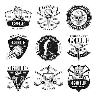 Set di nove emblemi monocromatici vettoriali da golf, distintivi, etichette o loghi in stile vintage isolati su sfondo bianco