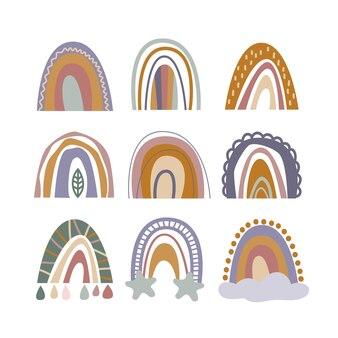 Set di nove arcobaleni disegnati a mano per la decorazione della parete della scuola materna in stile minimalista vintage boho
