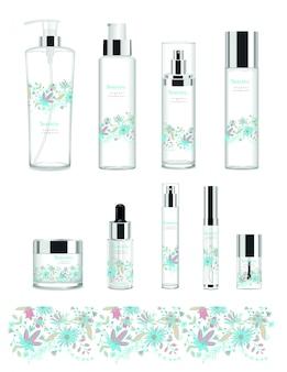 Set di nove tubi cosmetici trasparenti con disegno floreale.