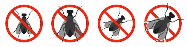 Set di icone no fly isolato su bianco