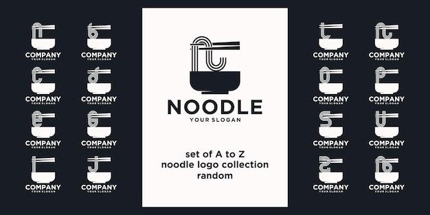 Set di riferimento logo noodle, con stile iniziale, negozio di noodle, ramen, udon, negozio di alimentari e altro.