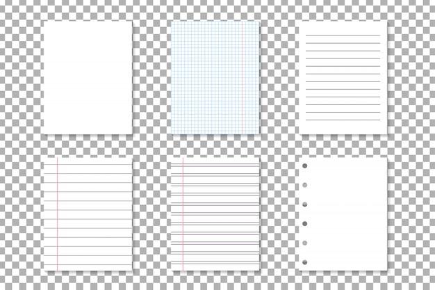 Set di elenchi di carta notebook per la decorazione e la copertura sullo sfondo trasparente. concetto di nota, distacco ed educazione.