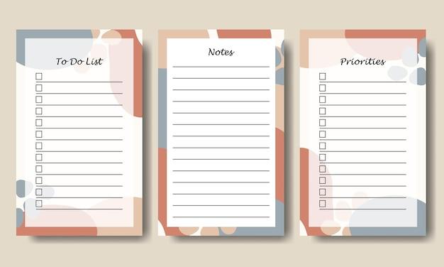 Set di note per fare la lista con sfondo astratto disegnato a mano vettoriale stampabile