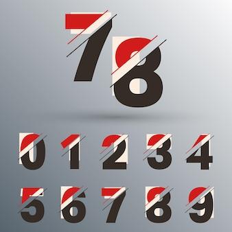Set di numeri 0 1 2 3 4 5 6 7 8 9 glitch design. illustrazione vettoriale.