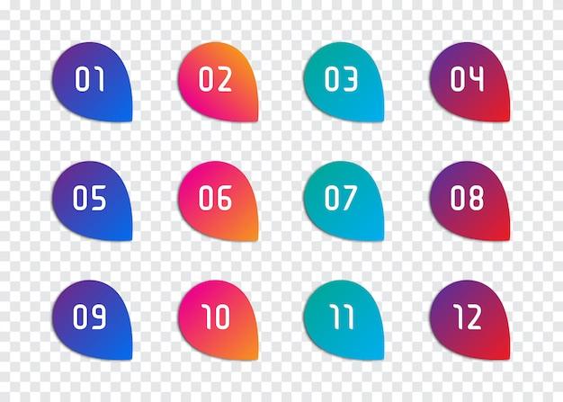 Set di numeri punto elenco da 1 a 12