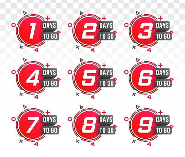 Set di numero di giorni per il conto alla rovescia. conto alla rovescia da 1 a 10, etichetta giorni rimanenti