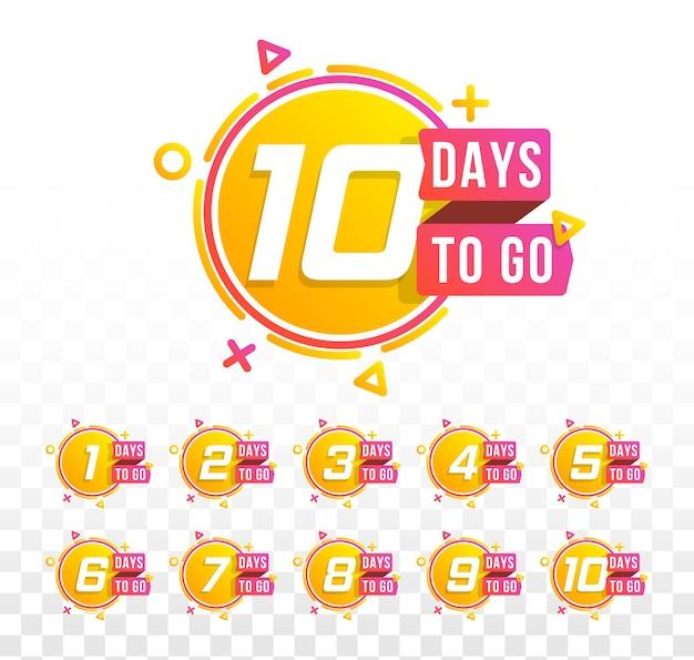 Set di numero di giorni per il conto alla rovescia. conto alla rovescia da 1 a 10, logo dei giorni rimanenti impostato