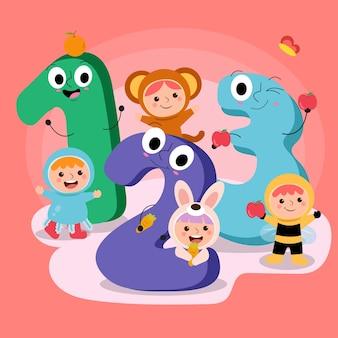 Il set di numeri da 1 a 3 è decorativo con bambini in costumi d'imitazione animali su sfondo rosa, ape, orso, medusa, coniglio