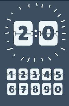 Set di numeri su un modello vettoriale di tabellone segnapunti meccanico per il tuo design