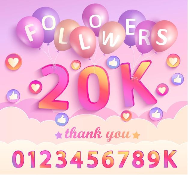Set di numeri per la progettazione di grazie seguaci. grazie carta di congratulazioni seguaci. illustrazione di vettore per i social network. l'utente web o il blogger celebra e twitta un gran numero di abbonati.