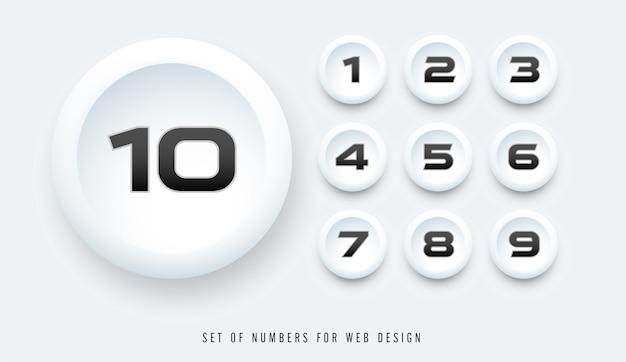 Set di numeri per il web design