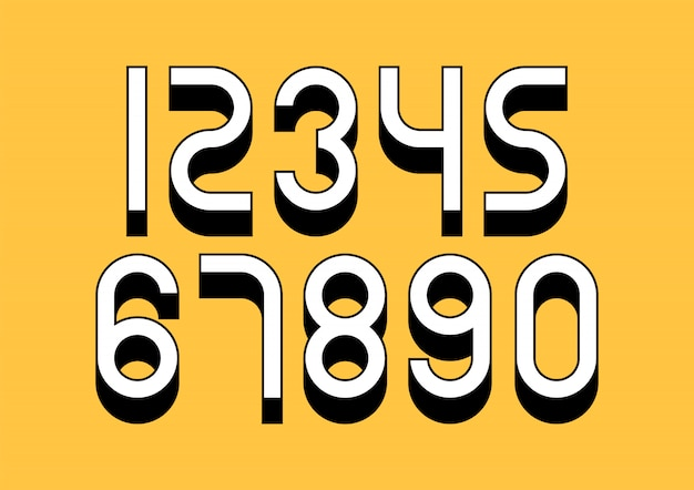 Set di numeri con effetto isometrico 3d