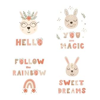 Set di stampe poster vivaio con citazioni scritte e coniglietti. illustrazione vettoriale.