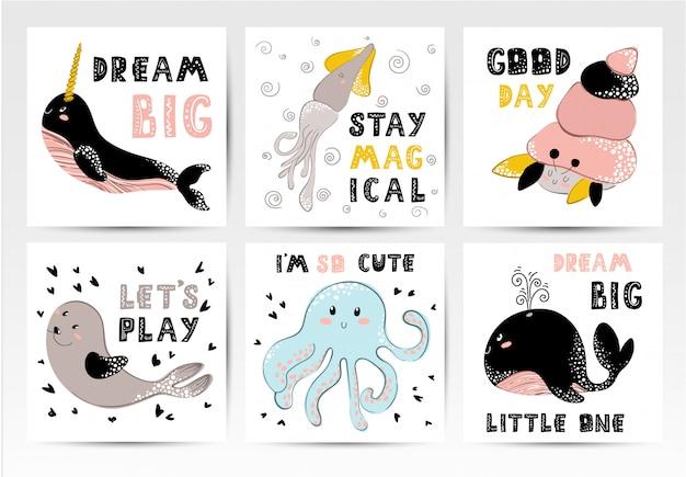 Set di poster di scuola materna