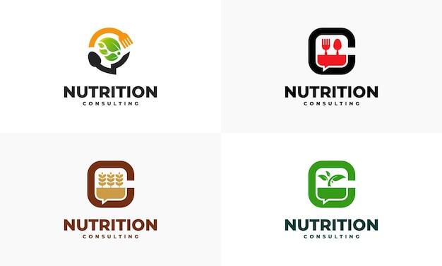 Set di logo nutrition consulting progetta vettore concetto, modello di design logo food talk, simbolo icona